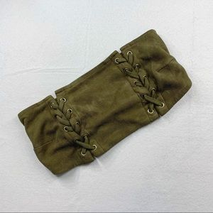 5/15$ Solaris Style Army Green Faux Suede Bandeau